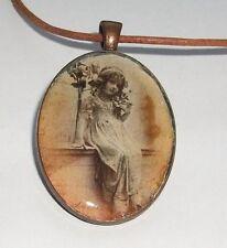 Vintage Girl Glass Resin Photo Pendant in a Copper Colour Bezel