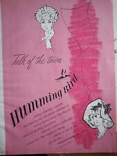 1959 Vintage Humming Bird Stocking Colourings Talk of Town Fashion Hosiery Ad
