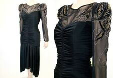 VTG 80s Glamour Chiffon & Jersey RUCHED SEQUIN Bead LS Party Dress M