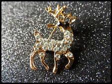 Beautiful Reindeer Brooch,Costume Jewellery,Christmas Gift,Deer,Gold Colour ,Pin