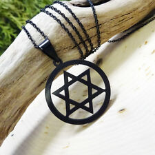 Black Circle Star of David Pendant Necklace