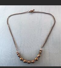 New Banana Republic Necklace Antique Gold Color Metal Beads With Rhinestones