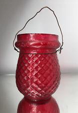 Red British Victorian Fairy Lamp Christmas Light Votive Flash Glass Antique