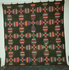 WINDMILL BLADES Quilt: Midwestern Amish, c. 1900, Cottons