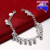 Lovely 925 Sterling Silver Filled Small Bell Beads Ball Charm Bracelet Bangle