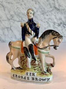 Antique Staffordshire Equestrian Sir George Brown 19thC