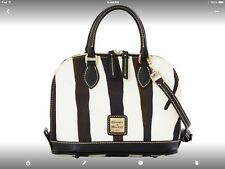 DOONEY AND BOURKE NYLON BAG ZEBRA ALL LEATHER STRAPS AND TRIM