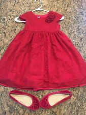 Pippa & Julie Red Lace Christmas/Holiday Twirl Dress With Sash 6x & Size 1 Shoes