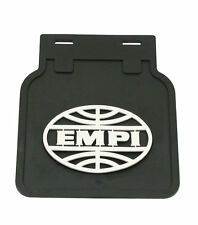VW Bug Type 1, EMPI Vintage Style Mud Flaps, Black w/ White Logo,Pair 15-1090