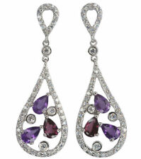 Pear Amethyst Sterling Silver Fine Earrings