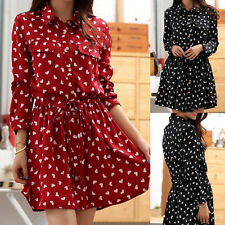Faux Silk Long Sleeve Casual Dresses for Women
