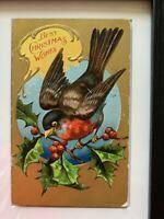 ANTIQUE CHRISTMAS POSTCARD SHOWING BIRD FROM XMAS BIRD SERIES