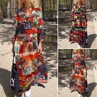 Women Holiday Party Random Printed Long Maxi Dress Ethnic Loose Oversized Kaftan