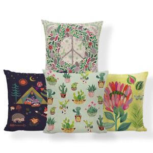 Cactus Aloe Lily Cushion Cover Camping Fox Owl Pillows Shabby Chic Headboard Dog
