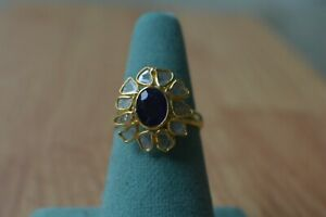 2.00ct Madagascar Blue Sapphire/ Polki Diamond Ring 14K YG over Fine Silver Sz 8