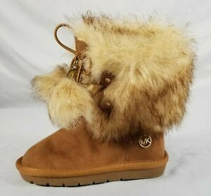 Michael Kors Faux Fur Alyona-T Toddler Shoes, Size 7, Tan, Used