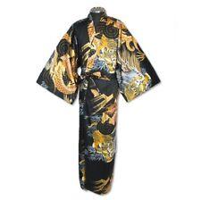 Japanese MEN'S KIMONO YUKATA OBI SET DRAGON TIGER  RYU  SIZE L  NEW BLACK