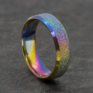 6mm Stainless Steel Rainbow Sparkle Ring - Men Women Wedding Band - Sizes M to Y