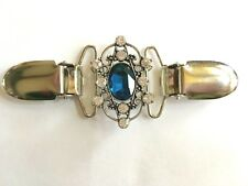 The mattie blue stone and rhinestone silver tone filigree waist shape cinch clip