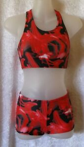 RED INK PRINT 3 PIECE GYMNASTIC DANCE SET  -  AGE 5-6 YEARS