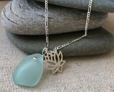 NEW! Sterling Silver Lotus Charm with Genuine Sea Foam Sea Glass Necklace