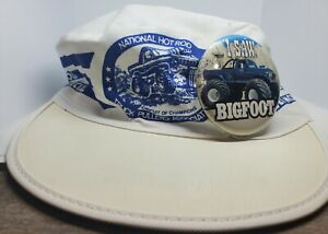"""1980's """"I Saw Bigfoot"""" Button National Hot Rod Truck Pullers Association Hat WOW"""