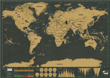 Black Scratch-Off Personal Travel scatch World Map pictures decal 32*5.5*5.5cm