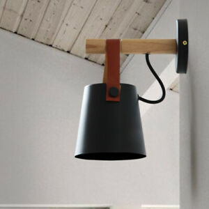 Minimal Wood Rod Leather Metal Cone Shade Porch Mini Wall Lights in Black/White