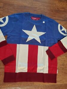MARVEL Captain America Unisex Large Uniform Pullover Sweater Red Blue