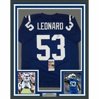 FRAMED Autographed/Signed DARIUS LEONARD 33x42 Indianapolis Blue Jersey JSA COA