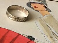 """Antique Art Deco C.30s Band floral design Ring marked """"silver"""" Size N"""