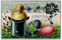 A Happy Easter Chick and Eggs Tuck Embossed Vintage Postcard 1910 Santa Ana CA