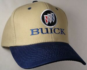 Hat Cap Licensed GM Buick Tri Shield Logo Navy Blue Bill Tan HR 136