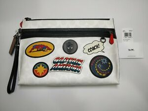 NWT COACH 1829 Marvel Signature Patches Large Pouch