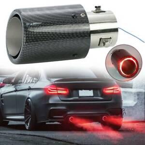 Universal Exhaust Muffler Tip Tail Pipe Trim Red Luminous Carbon Fiber LED 63mm