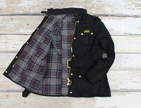 Women's Barbour International Classic Wax Belted Black Moto Design Jacket Coat