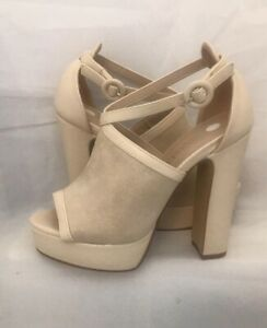 nude platform shoes Size 7 Sling Back Peep Toe Faux Suede Faux Leather Vamp