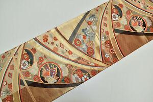 Vintage Japanese Gold/Copper Silk 'Butterfly/Crane' Complete Fukuro-Obi 4 Kimono