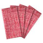 "Dinner Napkins Red Crosshatch Cotton 20"" Set 4 Cloth Valentine Holiday Christmas"