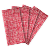 "Christmas Dinner Napkins Red Crosshatch Plaid 20"" Set 4 Cotton Cloth Holiday"