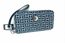 TOMMY HILFIGER Women's Wallet Clutch *Navy Blue Multi Double Zip Around New