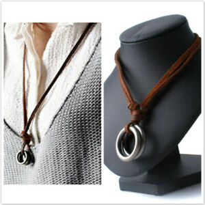 Mens Retro Faux Leather Cord Necklace Double Circle Ring Pendant Necklace Choker