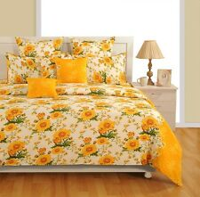Swayam Yellow and Off White Colour Floral Print Fitted Double Bed Sheet