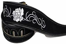 Leather Black Suede Guitar Strap White Rose Acoustic Electric Bass Rolled Edge