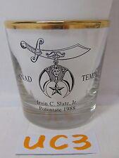 MASON MASONIC FREEMASONRY GLASS CUP TEMPLE AINAD TEMPLE POTENTATE 1988 GOLD RIM