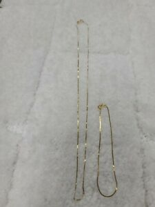 "14k thin gold necklace with knots and 6"" bracelet yellow gold set .76g"