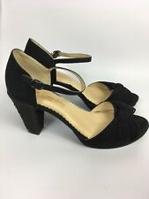 NEXT Size 8 Black Party Sandals Chunky Heeled Peep Toe Strappy Suede