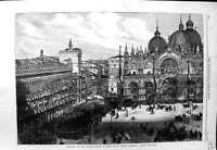Old Antique Print 1866 Reception Italian Troops Mark'S Cathedral Venice 19th