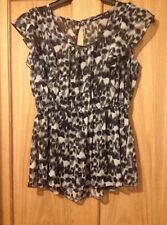 Ladies Leopard Print Black/White Top Size 8
