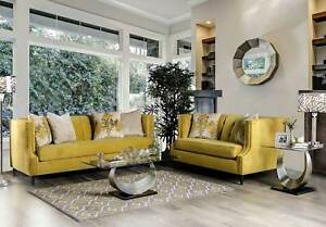 Transitional Design Yellow Microfiber Living Room Furniture 2 piece Sofa Set GDR